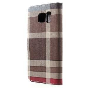 Módní štýlové puzdro na Samsung Galaxy S6 - hnedé - 2