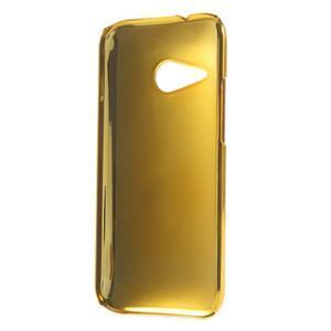 Plastový kryt se zlatým lemem na HTC One mini 2 - tmavě hnědý - 2