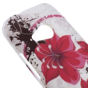 Gélový kryt pre HTC One mini 2 - červené kvetiny - 2