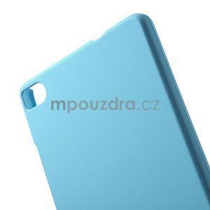 Plastový pogumovaný obal na Huawei Ascend P8 - světle modrý - 2