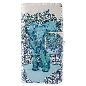 Peňaženkové puzdro Huawei Ascend P8 - modrý slon - 2
