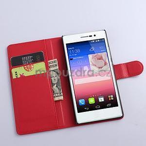 Kožené peňaženkové puzdro na Huawei Ascend P8 - červený - 2