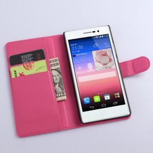 Kožené peňaženkové puzdro na Huawei Ascend P8 - rose - 2