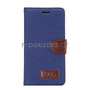 Štýlové peňaženkové puzdro Jeans na Huawei Ascend P8 - tmavomodré - 2