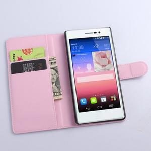 Kožené peňaženkové puzdro na Huawei Ascend P8 - růžový - 2