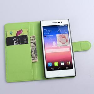 Kožené peňaženkové puzdro na Huawei Ascend P8 - zelený - 2
