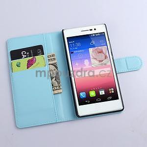 Kožené peňaženkové puzdro na Huawei Ascend P8 - modrý - 2