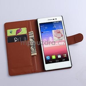 Kožené peňaženkové puzdro na Huawei Ascend P8 - hnědý - 2