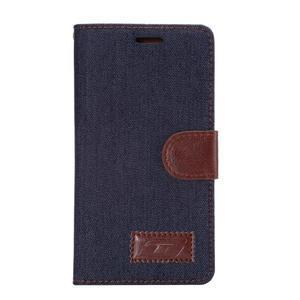 Štýlové peňaženkové puzdro Jeans na Huawei Ascend P8 -  čiernomodré - 2