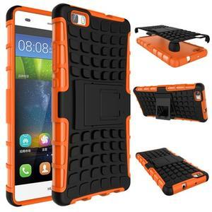Outdoor odolný kryt 2v1 se stojánkem pro Huawei Ascend P8 Lite - oranžový - 2