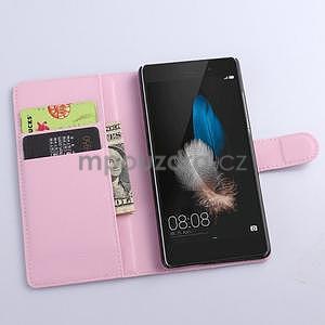 Zapímací peněženkové pouzdro na Huawei P8 Lite - růžové - 2