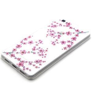 Transparentné gélový obal na Huawei Ascend P8 Lite - kvety čerešní - 2