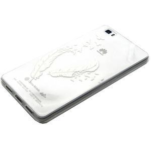 Transparentné gélový obal na Huawei Ascend P8 Lite - vtáčie pierka - 2