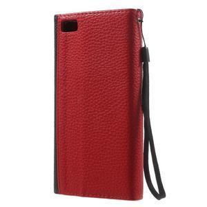 Luxusní peněženkové pouzdro na Huawei P8 Lite - červené / černé - 2