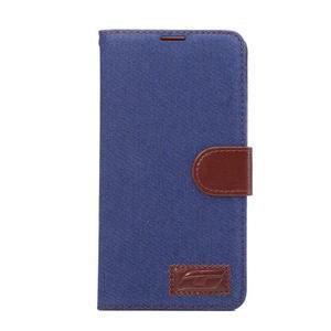 Jeans PU kožené puzdro na mobil Huawei Mate 8 - tmavomodré - 2