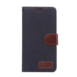 Jeans PU kožené puzdro na mobil Huawei Mate 8 - černomodré - 2