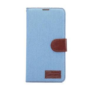Jeans PU kožené puzdro na mobil Huawei Mate 8 - svetlemodré - 2