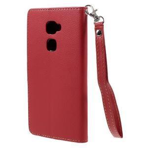 Knižkové PU kožené puzdro na mobil Huawei Mate S - červené - 2