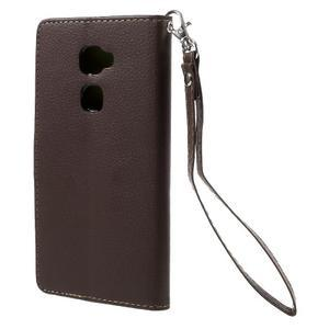 Knížkové PU kožené pouzdro na mobil Huawei Mate S - hnědé - 2