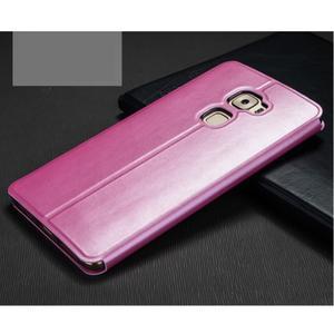 Vintage PU kožené pouzdro s kovovou výstuhou na Huawei Mate S - růžové - 2