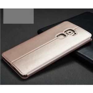 Vintage PU kožené pouzdro s kovovou výstuhou na Huawei Mate S - zlaté - 2