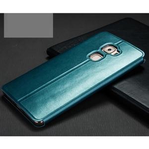 Vintage PU kožené puzdro s kovovou výstuhou na Huawei Mate S - modré - 2