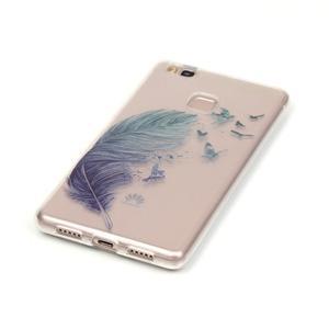 Průhledný gelový obal na mobil Huawei P9 Lite - peříčko - 2