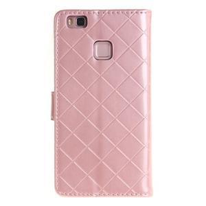 Luxury PU kožené peněženkové pouzdro na Huawei P9 Lite - růžové - 2