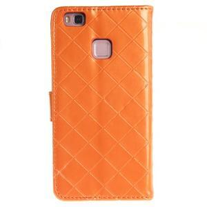 Luxury PU kožené peňaženkové puzdro na Huawei P9 Lite - oranžové - 2