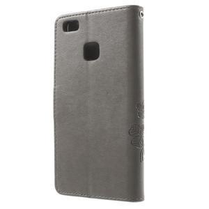 Cloverleaf penženkové pouzdro s kamínky na Huawei P9 Lite - šedé - 2