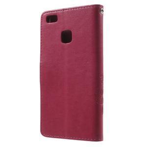 Cloverleaf penženkové pouzdro s kamínky na Huawei P9 Lite - rose - 2