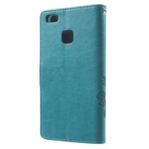 Cloverleaf penženkové pouzdro s kamínky na Huawei P9 Lite - modré - 2