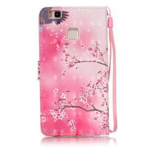 Knížkové PU kožené pouzdro na Huawei P9 Lite - kvetoucí strom - 2