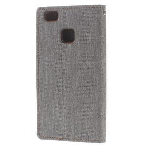 Canvas PU kožené/textilní pouzdro na Huawei P9 Lite - šedé - 2