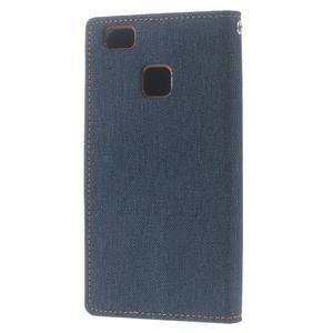 Canvas PU kožené/textilní pouzdro na Huawei P9 Lite - tmavěmodré - 2