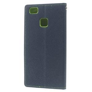 Diary PU kožené puzdro na telefon Huawei P9 Lite - tmavomodré - 2