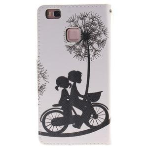 Lethy knižkové puzdro na telefon Huawei P9 Lite - láska na bicykli - 2