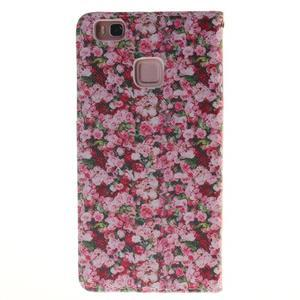 Lethy knížkové pouzdro na telefon Huawei P9 Lite - koláž růží - 2