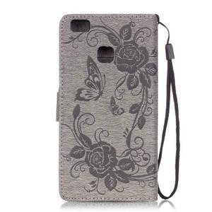 Květinoví motýlci peněženkové pouzdro na Huawei P9 Lite - šedé - 2