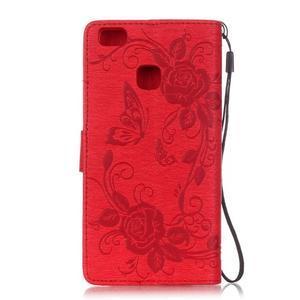 Květinoví motýlci peněženkové pouzdro na Huawei P9 Lite - červené - 2