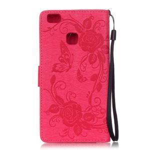 Květinoví motýlci peněženkové pouzdro na Huawei P9 Lite - rose - 2
