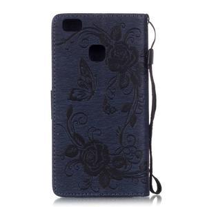 Kvetinové motýle peňaženkové puzdro na Huawei P9 Lite - tmavomodré - 2