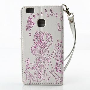 Víla PU kožené pouzdro s kamínky na Huawei P9 Lite - bílé/růžové - 2