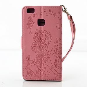 Víla PU kožené pouzdro s kamínky na Huawei P9 Lite - růžové - 2