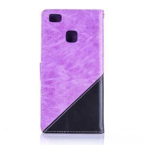 Duocolory PU kožené pouzdro na Huawei P9 Lite - fialové/černé - 2
