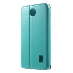 Tyrkysové kožené puzdro na Huawei Y635 - 2