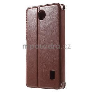 hnedé kožené puzdro na Huawei Y635 - 2