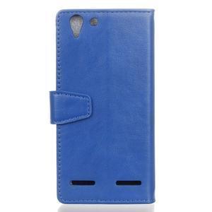 Knížkové PU kožené puzdro pre Lenovo Vibe K5 / K5 Plus - modré - 2