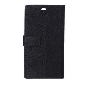 Croco PU kožené pouzdro na mobil Lenovo Vibe S1 - černé - 2