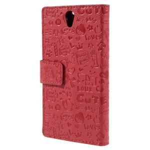 Cartoo peňaženkové puzdro pre Lenovo Vibe S1 - červené - 2